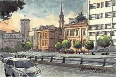 Edificios Cruz Roja. Madrid. (P.Barahona) Tags: urbano calle coches iglesia torre arquitectura edificios hospital