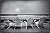 Waiting for Summer. (drpeterrath) Tags: canon eos5dsr5dsrbw blackwhite eos5dsr 5dsr bw seascape beach chairs sun sky cloud ocean pacific manhattanbeach shores weather outdoor landscape losangeles california naturallight