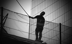 Bob The Builder - One World Trade Center under construction (Ula P) Tags: rope nyc blackwhite worker newyork sony