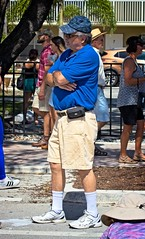 Man in blue (LarryJay99 ) Tags: 2018 lakeworthstreetpaintingfestibal urban festivals crowds florida people men male man guy guys dude dudes blue caps manly virile studly stud masculine sexyman face goatee mustasch armsfolded facialhaie sunglasses glasses streets fence belly hairyarms hairyman