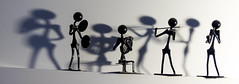 The Desktop Band (Andy Sut) Tags: figurine people figures toy band musicians musical instruments musicalinstruments nails tacks saxophonist violinist fiddler cymbals frenchhorn ornament model novelty shadows blackandwhite bw monochrome orchestra group performers availablelight music macro dramaticlighting