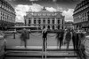 Paris Opera in the rush hour (jeffclouet) Tags: paris france europe capital nikon nikkor d7100 opera monochrome bw nb pb street rue calle city ville cuidad urban urbano urbain downtown streetshot streetphotography streetpic exposure silhouette siluetas blur blurred people personas personnes rush hour longexposure travel turismo tourisme monument monumento nb400 alone esperando waiting