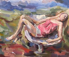 Reclining woman (Captain Wakefield) Tags: field lady landscape sky nature reclining burton samuel figurative expressionist impressionist painting woman