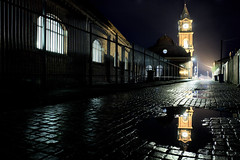 The Back Streets of Darlington (Benjamin Driver) Tags: darlington station railway darlingtonrailwaystation railwaystation back street backstreet backstreets streets colour city cityscape scape night nightphotography longexposure black shadow noir filmnoir cinematic reflection reflections water clock tower clocktower light lighting