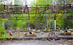 The Pripyat Amusement Park (Aad P.) Tags: chernobyl чорнобиль pripyat припять ukraine україна sovietunion cccp nuclearpowerplant radioactivity radiation urbex urbexphotography exclusionzone may1st may1stcelebration unused abandoned amusementpark bumpercars autodrome