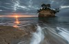Morning Rush (Antony Eley) Tags: water sea ocean waves wash flow rocks horizon sunrise sunshine rays tor cliff shoreline