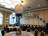 Chabad House (PartiLife) Tags: blue silver bigballoons centerpieces basiccenterpieces singlearch foilarch megaloons