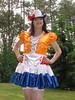 Shiny satin (Paula Satijn) Tags: sexy hot dress skirt cute lovely sweet girl gurl tgirl tranny dutch red white blue orange garden outside hat frills ruffles sensual fun joy happy girly feminine shiny silky silk stockings smile adorable apron