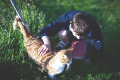 My godson and his cat in 2014 (Lobe occipital) Tags: cat chat portrait sunlight 50mm kid kidandcat catandkid candid candidshot garden summer