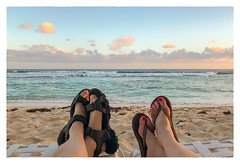 Peace at 6 PM (Timothy Valentine) Tags: 2018 0418 beach ocean travel feet toes sky caribbean bridgetown christchurch barbados bb