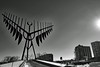 Barrie, Ontario (exposphotography) Tags: barrie ontario spirit catcher wind sculpture lakeshore lake blackandwhite blackwhite postcard fuji fujifilm 1855mm exposphotography expos winter ice travel sun