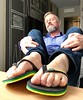 Feets in new Havaianas Brasil Layers. Paris. (silvpix) Tags: tongs jandals flipflops man paris guy layers havaianas feet barefoot feets