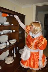 Orange maid uniform 50 (sissybarbie1066) Tags: sissymaid sissy maid uniform orange shot red taffeta dusting