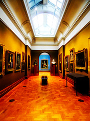 The Gallery (Steve Taylor (Photography)) Tags: art architecture painting picture portrait bust statue brown blue cream orange white light bench wood parquetflooring skylight cornice artgallery uk gb england greatbritain unitedkingdom london perspective nationalportraitgallery
