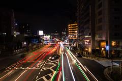 Warp ! (Blue Nozomi) Tags: warp speed tsukiji shin ohashi doori night nocturne japan tokyo taxi light trail