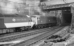Birmingham UK  |  1984 (keithwilde152) Tags: hst class56 56058 birmingham new street uk 1984 city station tracks diesel locomotives high speed train autumn blackandwhite monochrome