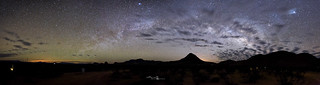 milky way arch panoramic over tin valley retro rentals terlingua texas - big bend national park