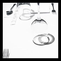Day 082 Out for dinner tonight (Clare Pickett) Tags: white napkin spoon folk table dinner wine