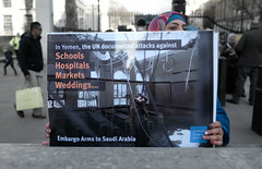 The UK backed Saudi assault on Yemen targeting schools, hospitals, markets.... (alisdare1) Tags: saudiarabia yemen armsexports downingstreet whitehall protest demo london rally warcrimes handsoffyemen saudiwar armssales uk ksa stoparmingsaudiarabia humanitariancrisis yemenfamine bombingofyemen saudibombing unitedkingdom theresamay mohammadbinsalman binsalman mbs creativecommons