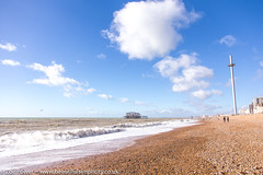 The West Pier and the i360, Brighton (Zoë Power) Tags: westpier beach uk brighton i360 derelict blueskies coast sea seaside