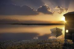 Lands end (Maurizio Fecchio) Tags: sunset sun lights clouds nature seascape boat colors tramonto lagoon water ocean sea
