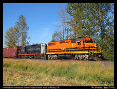 PNWR on the Oregon Electric (funnelfan) Tags: train railroad railway shortline locomotive pnw pacificnorthwest pnwr portlandwestern blackwidow 1801 gp392 gp9 willamettepacific
