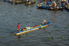 Wooden boats on Mekong River (phuong.sg@gmail.com) Tags: activity air amazing asia asian atmosphere boat busy canal chanel color colorful colour day delta farmers flea float floating group heavy hot landscape landscaping life lifestyle lively market mekong morning open people person poor poverty river row rowing scene small sunny sunrise trade travel vietnam vietnamese water wave woman wooden