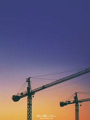 Beneath a Steel Sky (Mimadeo) Tags: crane cranes construction silhouette silhouettes copyspace industry sunset structure architecture business sky development urban equipment machine industrial building growth orange scenic dusk yellow working twilight machinery two vivid colorful vibrant background beautiful