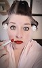 Day 35 of Year 9- Gotta get all prettied up! (Pahz) Tags: 365days selfportrait year9 flickrcpr hereios werehere wah wh makeup hairdo digitalmanipulation lipstick hair haircurlers hotrollers retro