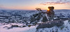 Quilted Vale (http://www.richardfoxphotography.com) Tags: chinkwelltor widecombeinthemoor widecombechurch widecomevale dartmoornationalpark snow snowy sunset outdoors frosy ice frozen sky rock tor granite moorland