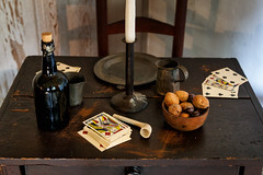 Colonial card table (trochford) Tags: cards playingcards table chair candlestick bottle pipe nuts walnuts bowl pewter buckmantavern tavern old historic american colonial nationalhistoriclandmark nationalregisterofhistoricplaces lexingtonma lexingtonmassachusetts ma massachusetts newengland unitedstates us usa canon canon6d ef24105mmf4lisusm ef24105 indoor