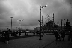 Cloudy Mosque (celilsuiçmez) Tags: mosque istanbul city old bnw grey sky cloud cloudy square people rainy blackandwhite