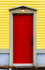 Another Red Door (Karen_Chappell) Tags: red door yellow house home thebattery stjohns newfoundland nfld architecture colourful colours colour building wood wooden paint painted clapboard canada atlanticcanada avalonpeninsula eastcoast city