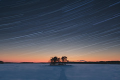 Dreams (Bunaro) Tags: kallahti vuosaari aurinkolahti suomi finland suomi100 landscape nature ice winter snow sunset star trail comet dream illusion composite orange teal deep blue