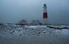Snow at Portland Bill - A rare sight! (hsrsji) Tags: snow dorset portlandbill portland lighthouse weather barren landscape