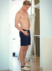 (felix-1997) Tags: guy dude lad male shirtless body legs shorts jeans hair blond