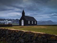 quiétude (objet introuvable) Tags: church église iceland islande colors light field sky clouds nuages ciel olympus holidays