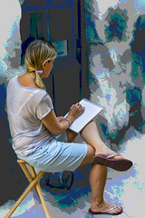 girl drawing in Grignan (Bobinstow2010) Tags: girl lady drawing notbook street scene grignan france arty blue topaz photoshop