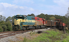Over the CSX (GLC 392) Tags: csx bridge bayline bayl bay line isrr indiana southern emd gp402 4041 3018 hilton tractor railroad railway train chatt job trees clouds competition competitors tree sky grass locomotive al albama dothan storm light alabama