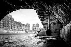 Petit-Pont Cardinal Lustiger, Paris, France (KSAG Photography) Tags: bridge church cathedral blackandwhite monochrome city urban travel tourism architecture history paris france europe nikon wideangle river march 2018