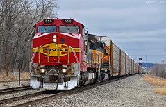 "Westbound Local in Birmingham, MO (""Righteous"" Grant G.) Tags: bnsf railway railroad emd ge power atsf santa fe west westbound locomotive engine kansas city missouri local transfer freight ns norfolk southern"