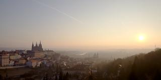 Rising sun over the golden city - Prague