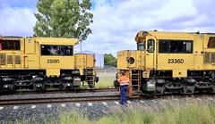 Aurizon Coal Trains 2309D west bound empty and 2336D east bound full. (Lance # Australian photographer) Tags: coaltrain chinchilla 4413 queensland railroad train locomotive aurizon outdoor blocklimit traindriver engineer