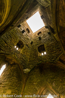 Looking up St Michaels Tower, Glastonbury Tor