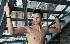 IMG_4214h (Defever Photography) Tags: male model portrait fashion chest armpits stairs iron bricks