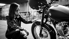 When your bike is your child (Tài Trần) Tags: motorcycle motorbike biker yamaha tracker caferacer cool custombike fueltank girl