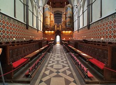 Quire, Early English Gothic, c1200 - Rochester Cathedral, Rochester, Kent, England.. (edk7) Tags: olympusomdem5 slrmagic8mm14rectilinearultrawideanglemanualfocuslens edk7 2018 uk england kent rochester rochestercathedral cathedralchurchofchristandtheblessedvirginmary quire choir c1200 gothic architecture building oldstructure church sculpture stonecarving arch column engaged capital gradeilisted organ pipe symmetry