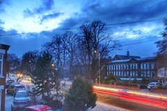 Beast from the East 2!!! ☃☃☃ (LeanneHall3 :-)) Tags: lighttrails red lights street streetlamps night nightshot nightphotography snow snowscene beastfromtheeast trees branches landscape canon 1300d maletlamberthighschool sky clouds blue cars