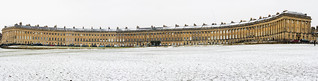 The Royal Crescent in Bath in the snow