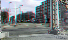 Gate Blijdorp Rotterdam 3D (wim hoppenbrouwers) Tags: gate blijdorp rotterdam 3d anaglyph stereo redcyan poort hek street straat